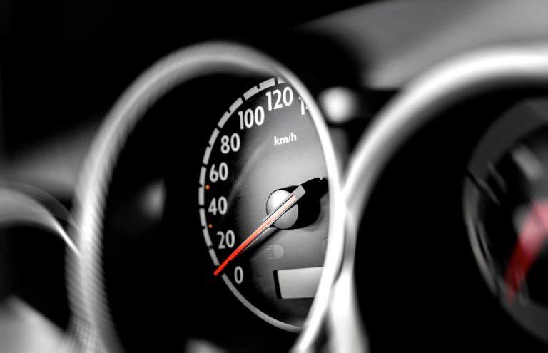 Close up of car speedometer