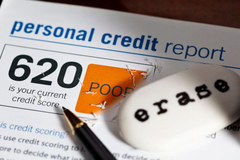 Low credit score showing on document