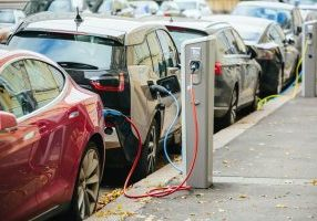 electric car charging on the road