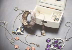 Jewellery box full of jewellery items