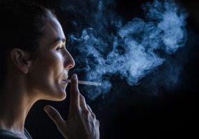 A woman smoking